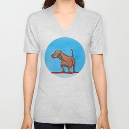 Doxie Dog in Red White and Blue Unisex V-Neck