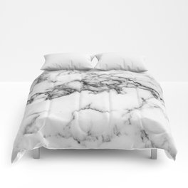 Classic White Marble With Black Vein Pattern Comforters