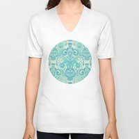 bedding V-neck T-shirts featuring Botanical Geometry - nature pattern in blue, mint green & cream by micklyn