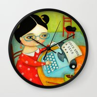 writer Wall Clocks featuring The writer of stories by tascha