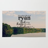 ryan gosling Area & Throw Rugs featuring Ryan by KimberosePhotography