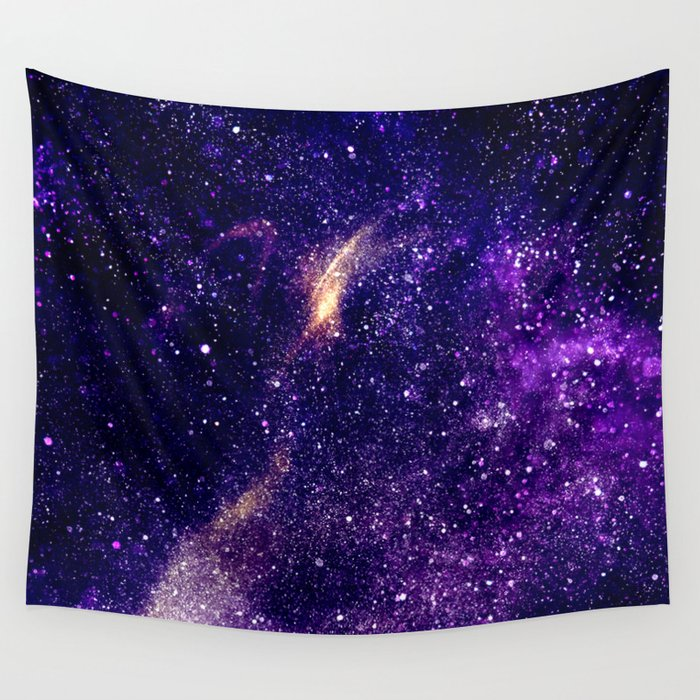 Ultra violet purple abstract galaxy wall tapestry by PLdesign