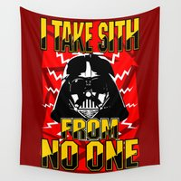 sith Wall Tapestries featuring Don't Take No Sith!  |  Darth Vader by Silvio Ledbetter