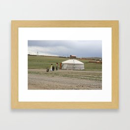 GIRLS PLAYING WITH TIRES Framed Art Print