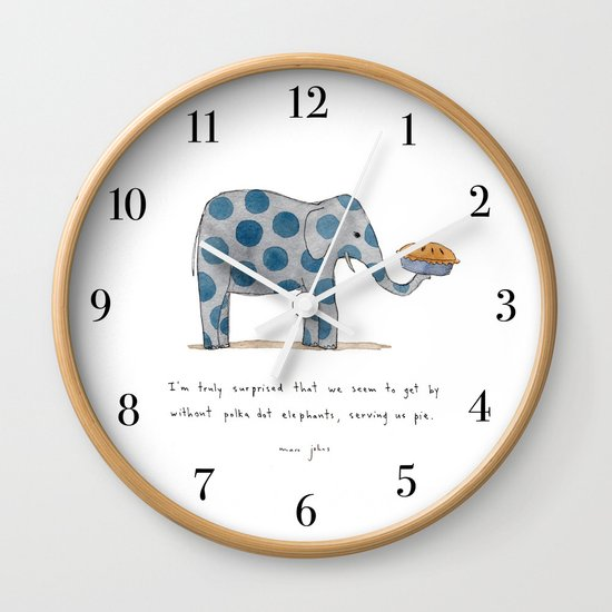 polka dot elephants serving us pie Wall Clock