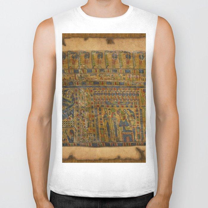 Ancient Egyptian Funerary Scroll pre 944 BC Biker Tank