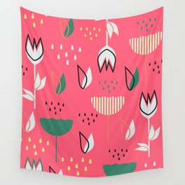 Flowers and raindrops Wall Tapestry