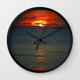 Fire in the Sea Wall Clock