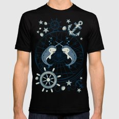 Narwhal MEDIUM Black Mens Fitted Tee