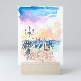 Famous Venice San Giorgio Maggiore View With Gondolas Mini Art Print