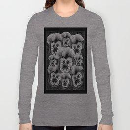 Black & White Pansy Collage Garden Art Long Sleeve T-shirt