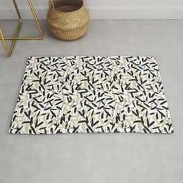 Black and White Feather Repeating Pattern Rug