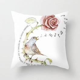 The nightgale and the rose Throw Pillow