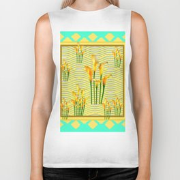 Turquoise Yellow Diamond Design Calla Lilies Biker Tank