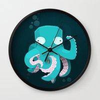 kraken Wall Clocks featuring Kraken by Damien Mason