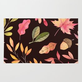 Pink orange yellow brown watercolor fall acorn leaves Rug