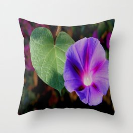 Beautiful Single Morning Glory Flower and Leaf Throw Pillow