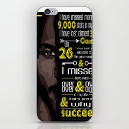 I've missed more than 9000 shots in my career MJ Sport Player Motivating Quote Design iPhone Skin