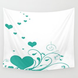 Aquamarine Valentine Hearts On A White Background Wall Tapestry