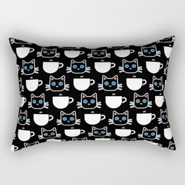 Cat and Coffee Mug Pattern (Black) Rectangular Pillow