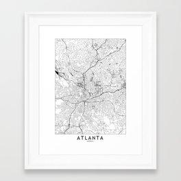 Atlanta White Map Framed Art Print
