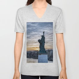 Sunset over Replica of the Liberty Statue in Paris Unisex V-Neck