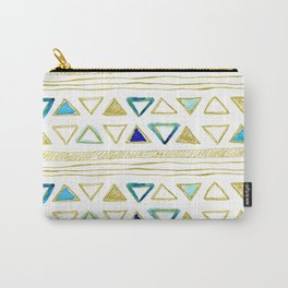 Watercolor & Gold Triangle Pattern Carry-All Pouch