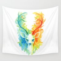 fawn Wall Tapestries featuring Feather Fawn by Freeminds