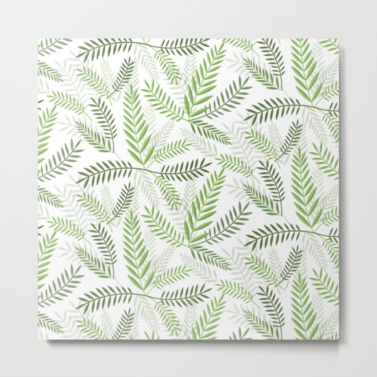GREEN LEAVES ON WHITE Metal Print