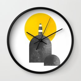 Lighthouse on Rock with Sun Behind Wall Clock