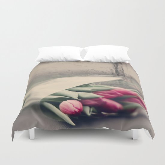 tulips on a rainy day Duvet Cover