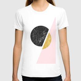 Modern Minimalist Black And Gold Marble Art, Scandinavian Minimalism, Large Print Wall Art Decor T-shirt