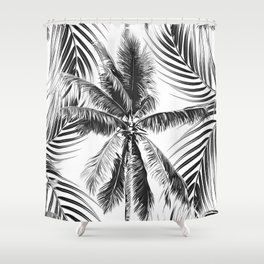 South Pacific palms II - bw Shower Curtain