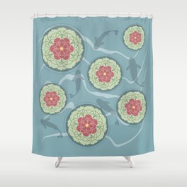 Koi Lotus Pond Shower Curtain