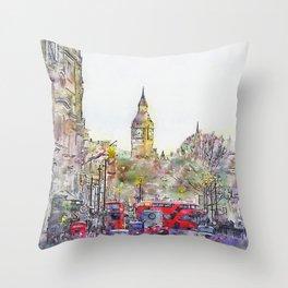 London Street 1 by Jennifer Berdy Throw Pillow
