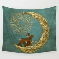 noir Wall Tapestries featuring Moon Travel by Eric Fan