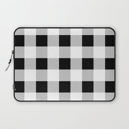 western country french farmhouse black and white plaid tartan gingham print Laptop Sleeve