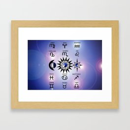 Zodiac Signs with The Moon The Sun and a Star Framed Art Print