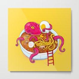 Bowl of ramen with octopus taking a bath Metal Print