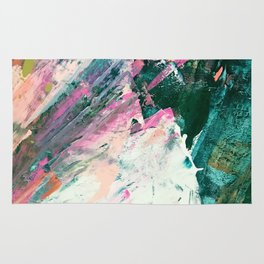 Meditate [5]: a vibrant, colorful abstract piece in bright green, teal, pink, orange, and white Rug