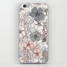 Flower vintage design with wild roses in english style iPhone Skin