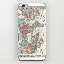 1852 J.H. Colton Map of the World iPhone Skin