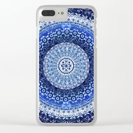Cobalt Tapestry Mandala Clear iPhone Case