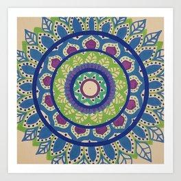 The Green and Purple Mandala Art Print