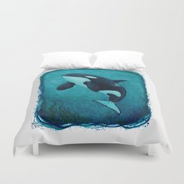 """""""The Matriarch"""" by Amber Marine ~ Orca / Killer Whale (J2 Granny) Watercolor Art, (Copyright 2016) Duvet Cover"""