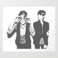 tegan and sara Art Prints featuring Tegan & Tegan & Sara & Sara - Gray by c.beanan