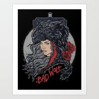 bad wolf Art Prints featuring Bad Wolf by zerobriant