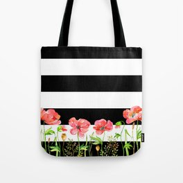 Poppies and Stripes Tote Bag