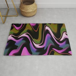 Abstract psychedelic fluorescent graffiti wall Rug