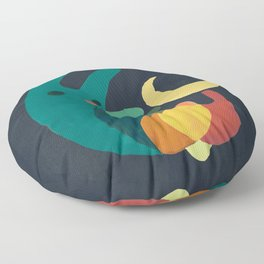Rabbit and crescent moon Floor Pillow